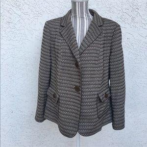 TALBOTS Wool Blend Brown/Tan Tweed Blazer Jacket